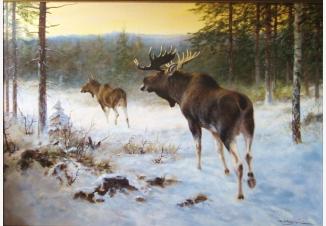 Зимний пейзаж с лосями